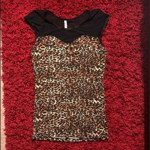 NWOT leopard top with mesh neckline